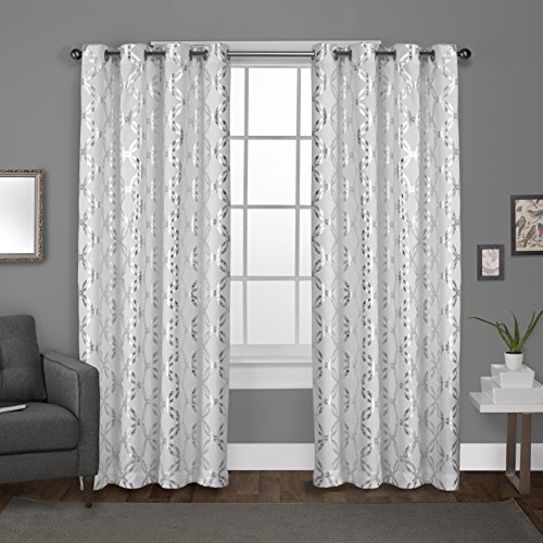 Exclusive Home Curtains Modo Grommet Top Window Curtain Panel Pair, Winter White, 54x96 (And White Silver Curtains)