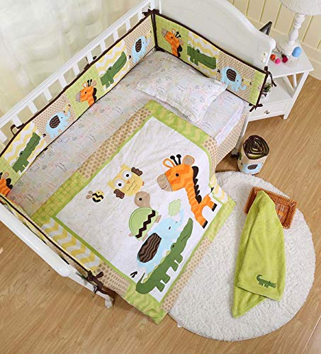 (Green Giraffe Elephant Crocodile Nursery Crib Bedding Set 7 Pieces Baby Boy Bedding Set Comforter +Bumpers + Fitted Sheet + Skirt + Diaper Stacker + Blanket+ Window Valance Baby Boy Gift Idea)