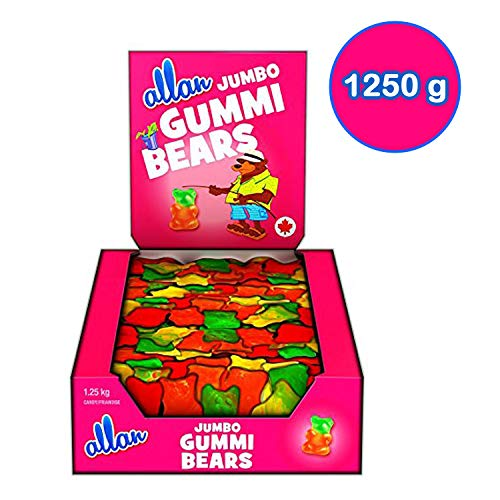 ALLAN Jumbo Gummi Bears candy, 1250 Gram 2.75 pounds {Imported from Canada}