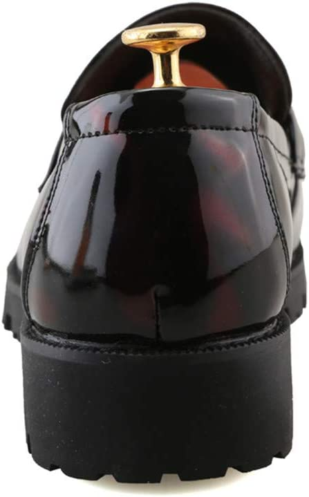 M US Hilotu Clearance Mens Casual Head Thick Patent Leather Prom Shoes Anti-Slip Soft Sole Business Oxfords Color : Red, Size : 8.5 D