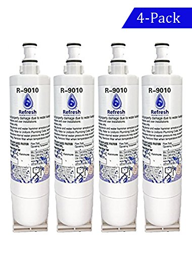 4x Whirlpool 4396508, 4396510 Compatible Water Refrigerator Filter by Refresh - EDR5RXD1, NLC240V Kitchenaid Maytag Whirlpool Side By Side Refrigerator