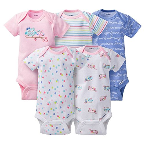 Gerber Baby Girls 5 Pack Onesie set - Owls (0-3)