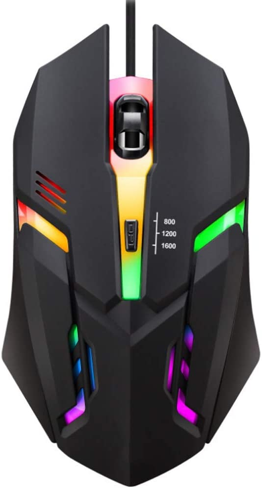 HBBOOI LED Colorful Change Light Wired Gaming Mouse 4 Programmable Buttons 1600 DPI USB Interface High Performance Gaming Mouse Special Edition for PC Computer Laptop