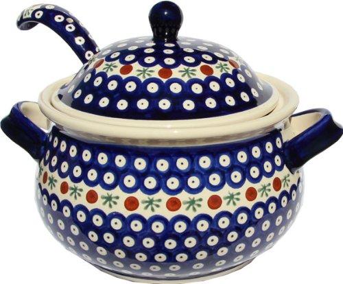 (Polish Pottery Soup Tureen with LadlePolish Pottery Soup Tureen with Ladle Zaklady Ceramiczne Boleslawiec 1004/1367-41 Classic Pattern, 13.4)
