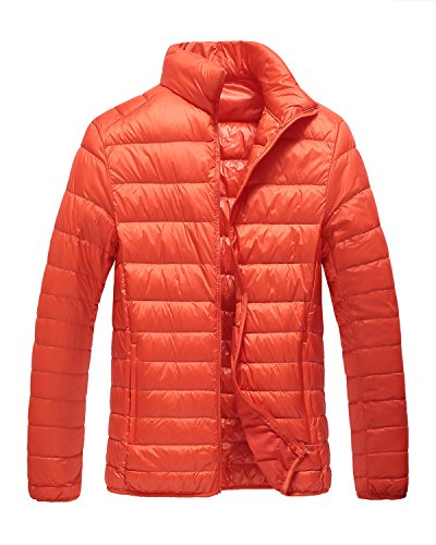 Trensom Men's Lightweight Packable Short Down Jacket Ultralight Winter Zip Puffer Coat Orange Small