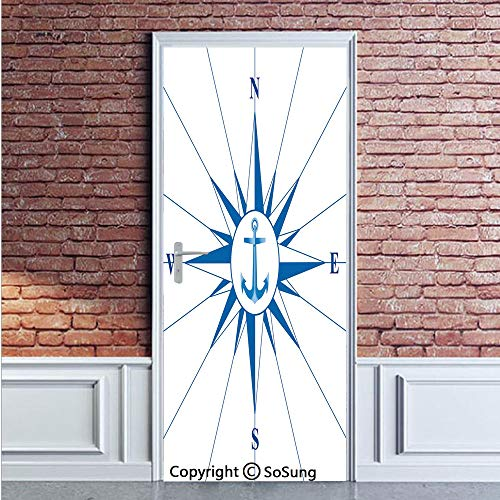 Compass Door Wall Mural Wallpaper Stickers,Royal Blue Windrose with an Anchor in the Middle Discovery on the Sea Sailing on Decorative,Vinyl Removable 3D Decals 35.4x78.7/2 Pieces set,for Home Decor R