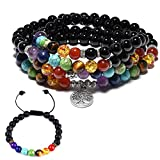CAT EYE JEWELS 8mm Onyx 108 Buddhist Prayer Beads 7 Chakra Multilayer Yoga Meditation Mala Tree of Life Bracelet Necklace Healing Lava Rock Beads Diffuser Bracelet