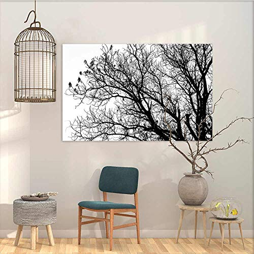 (Oncegod Canvas Prints Wall Decor Art Sticker Nature Leafless Autumn Fall Tree Branches Tops Oak Forest Woodland Season Eco Theme Modern Decorative Artwork Black and White W35 xL23)