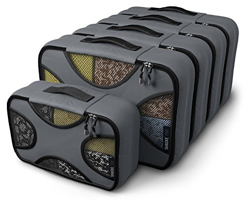 Shacke Pak 5 Set Packing Cubes Medium/Small – Luggage Packing Travel Organizers (Dark Grey)