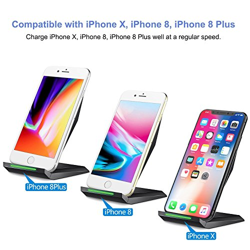 Fast Wireless Charger, NANAMI Qi Certified Charger Wireless Charging Stand for Samsung Note8, iPhone 8/8 Plus, iPhone X, Galaxy S9 S9 Plus S8 S8+ S7 S7 Edge Note 5 S6 Edge+ and All Qi-Enabled Devices by NANAMI (Image #2)