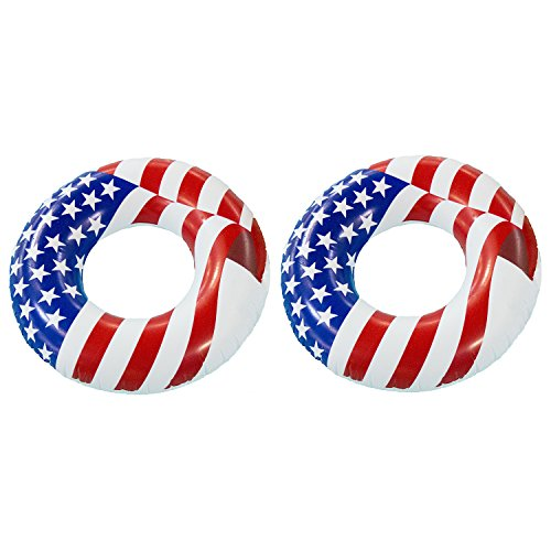 Swimline 36 Inflatable American Flag Swimming Pool and Lake Tube Float (2 Pack)