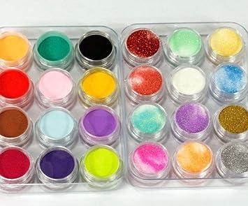 Amazon.com : 350buy 24 Colors 3D Nail Art Glitter Acrylic Powder ...