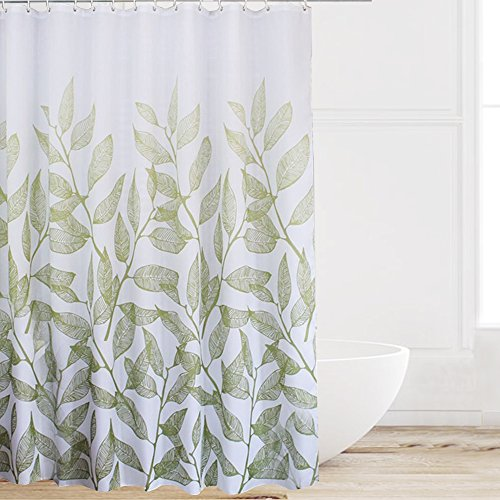 Eforcurtain Fresh Green Leaves Print Shower Curtain White Background Stall Extra Long, Decorative Polyester Fabric Bathroom Curtain Water Resistant No More Mildew, 54 by 78 - Leaf Print Full Length