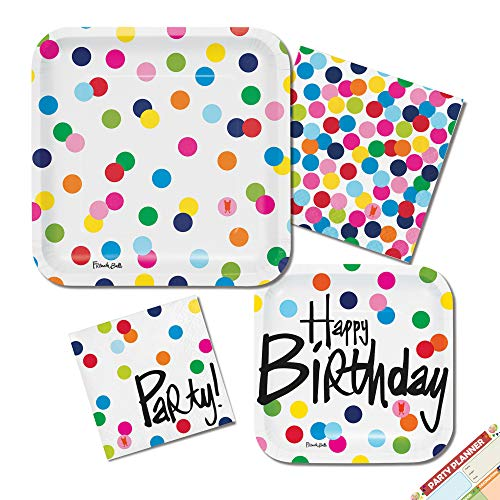 Polka Dots Happy Birthday Plates and Napkins (French Bull) | Rainbow Confetti Party Supplies | Square, Paper, Colorful, Disposable| Serves -
