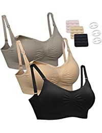 3PACK Womens Seamless Nursing Bra Bralette S-XL with Free...