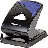 Heavy Duty Hole Punch Super Strong all metal design (40 sheets) , extra leverage soft grip handle and anti-slip base, Modern & Stylish Blue/Black