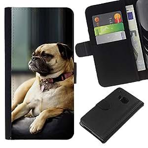 All Phone Most Case / Oferta Especial Cáscara Funda de cuero Monedero Cubierta de proteccion Caso / Wallet Case for HTC One M7 // Pug Grumpy Dog Small Brown Sleeping Cute