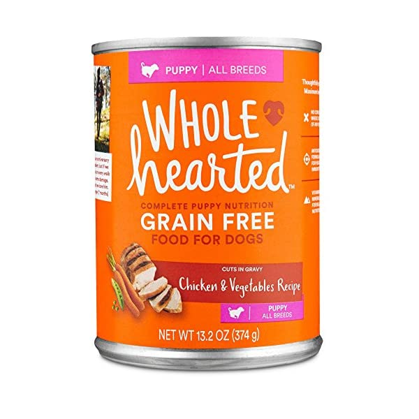 WholeHearted Grain Free Puppy Chicken and Vegetable Recipe Wet Dog Food, 13.2 oz, Case of 12, 12 X 13.2 OZ