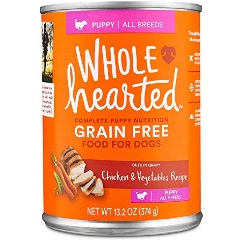 WholeHearted Grain Free Puppy Chicken and Vegetable Recipe Wet Dog Food, 13.2 oz, Case of 12, 12 X 13.2 OZ 13.2 Ounce Puppy Food