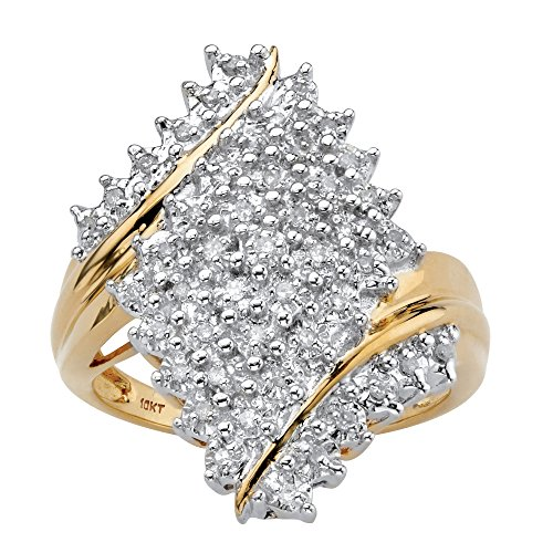 10K Yellow Gold Round Diamond Cluster Bypass Ring (.25 cttw, HI Color, I3 Clarity) Size - Ring Diamond 10k Cluster