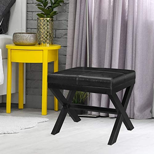 Adeco Black Bonded Leather Contrast Stitch Ottoman x-Shaped Legs 19.25×16.5 footstool bench, 19-1 4 L 16-1 2 W 17-1 2 H,