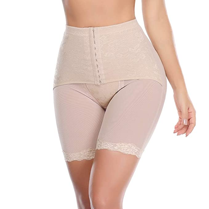 8e3e89969cb Vaslanda Women High Waist Cincher Panty Thin Leg Girdle Belly Trainer Corset  Body Shapewear Shape Beige