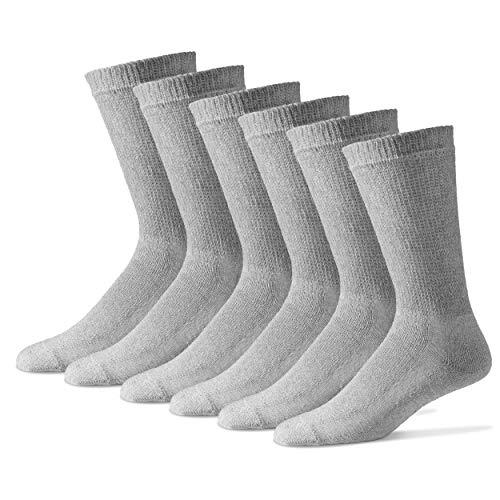 Men's Diabetic Crew Socks 10-13 - Cotton Blend Physician's Choice Seamless 12 Pack Gray Made in USA