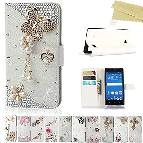 ZTE ZMAX 2 Case, AMASELL Glitter Bling Diamonds [Stand View] PU Leather Flip Cover with Card Slots Holder Folio Wallet Cases for ZTE ZMAX 2 (ZTE Z958/ Z955L / 2015 Release), pearl jewelry (Zte Zmax Phone Cases With Pearls)