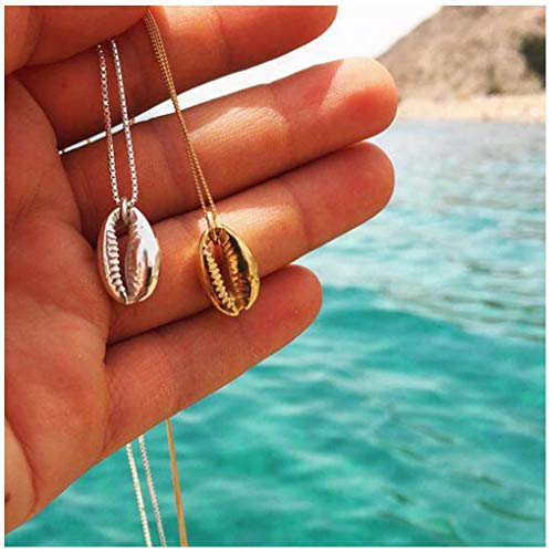 Yfe Cowrie Shell Necklace Choker Shell Pendant Necklace Boho Cowrie Necklace Jewelry for Women and Girls (Silver -