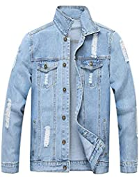 Jean Jacket for Men, Classic Ripped Slim Denim Jacket with Holes