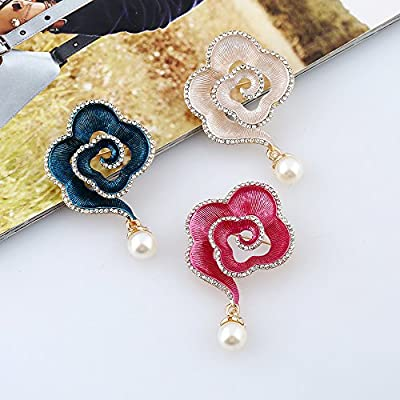 Fashion Brooch Pins with Crystal Pearl for Wedding Party Scarf Clips Pins Perfect Gift 2pcs