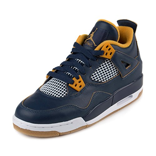Nike Boys Air Jordan 4 Retro BG,MID NAVY/METALLIC GOLD STAR-GOLD LEAF-WHITE,4.5Y