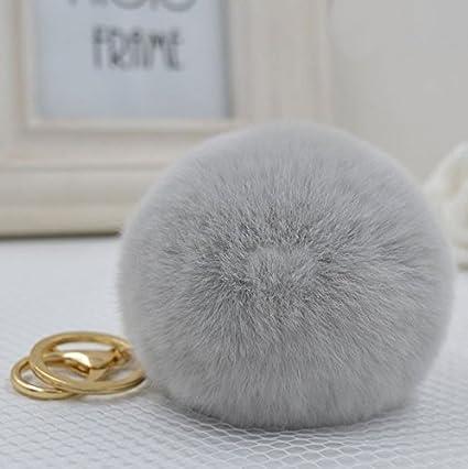 8a4671ea6c39 Minigianni Rabbit Fur Ball Pom Pom Keychain Gold Plated Keychain Pendant  for Handbag Wallet Purse Car