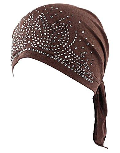 Brown Headwear - RRiody Women's Head Scarf Pre-Tied Chemo Hat Beanie Strench Turban Headwear Hair Wrap for Cancer Patients (Coffee)