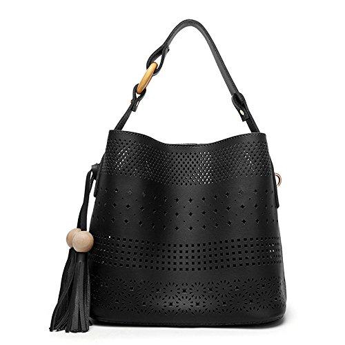 ZLL Women's bag Bolso De La Borla De Las Mujeres Bolso De Hombro De Las Mujeres De La Manera Salvaje La Bolsa De Holgura Black