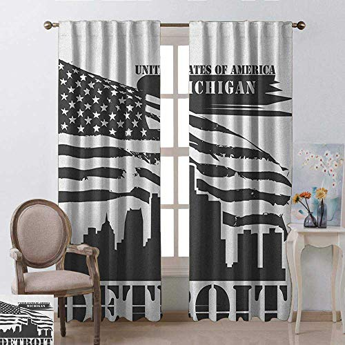(youpinnong Detroit, Curtains Panels, Monochrome Grunge City Silhouette American Flag United States Michigan, Curtains Kitchen Valance, W84 x L108 Inch, Charcoal Grey White)