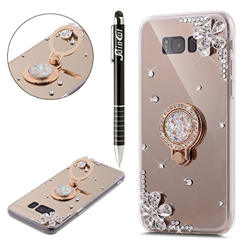 Funda Galaxy S8,Saincat TPU Silicona con Diseño 3D Carcasa Caso Diamante Piedras de Strass Brillo Bling Flores Espejo Funda Mirror Case con Ring Stand Holder Bumper Case Shockproof Slim Funda Lindo Bl Oro