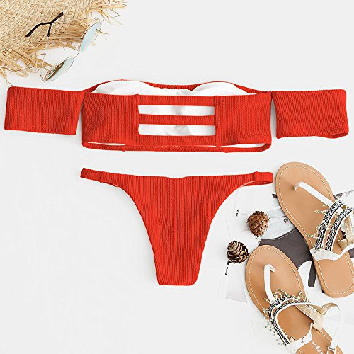 Bikini Da Piccole A Fantasia Sexy Costume Beachwear Tinta Coste Con Estivo Perizoma Delicate Imbottito Abbigliamento Due Pompelmo Zaful Bagno In Cose Maniche Unita dwzadXq