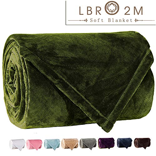 LBRO2M Fleece Bed Blanket Super Soft Warm Fuzzy Velvet Plush Throw Lightweight Cozy Couch Twin/Queen/King Size (Twin(90 by 65 luches), Green) ()