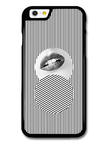 Arty Minimalist Black and White Stripes with Fashion Model Lips coque pour iPhone 6 6S
