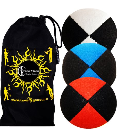 3x Pro Thud Juggling Balls - Deluxe (SUEDE) Professional Juggling Ball Set of 3 with ''Kid-Jo Learn To Juggle'' DVD, and Fabric Travel Bag! (Black-Red/Blue/White)