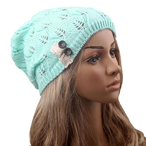 GBSELL Fashion Women Gir Winter Leaves Hollow Out Button Knitting Hat Sport Cap (Blue)