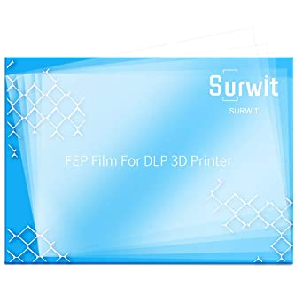 FEP Film for UV 3D Printer Pack of 5 Surwit Photon High Transmittance Strength DLP LCD SLA Resin 200x 140mm Thickness 0.1mm