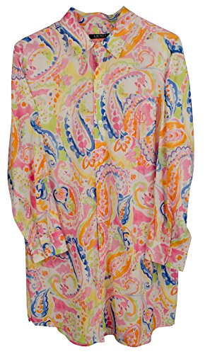 Lauren Ralph Lauren Women's Sateen Sleepshirt (Large, Pink Paisley) (Robe Pink Cotton Sateen)