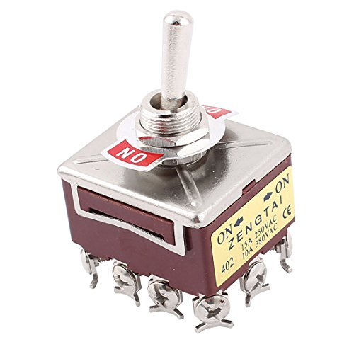 Uxcell 12 Screw Terminals On/On 4PDT Toggle Switch, AC 15 Amp/250V, 10 Amp/380V (Toggle 4 Switch Position)