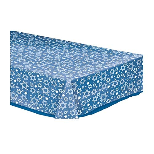 Amscan Star of David Clear Plastic Table Cover - Party Supplies -