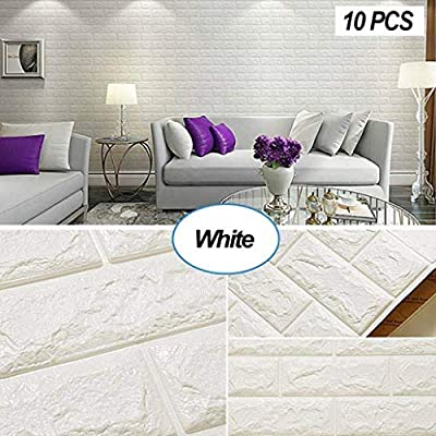 Kasi 10PCS 3D Brick Wall Stickers, PE Foam Self-adhesive Wallpaper Removable and Waterproof Art Wall Tiles for Bedroom Living Room Background TV Decor