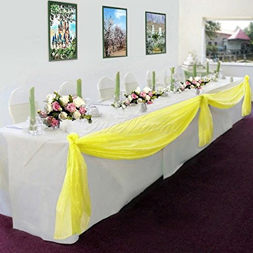 GorgeousHome 1 Yellow Swag Valance Scarf For Wedding Table Chair Window Wall Church Decor Pole Voile Fabric Size (6 YARD) 216 Inches Long ()