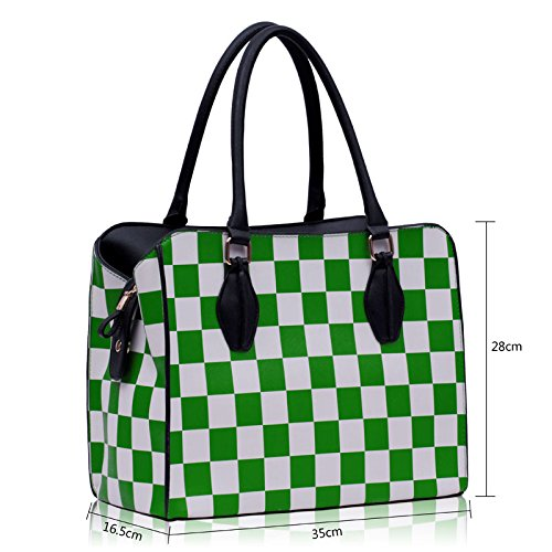Womens Shoulder Handbag Tote Green Leather New Faux In Bag Ladies Designer 2 Sale Design Design Check Print rwrIAtx
