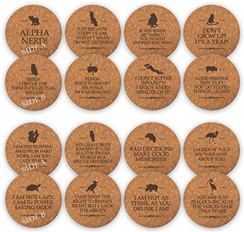 TANGRA Funny Party Cork Bar Coasters [8